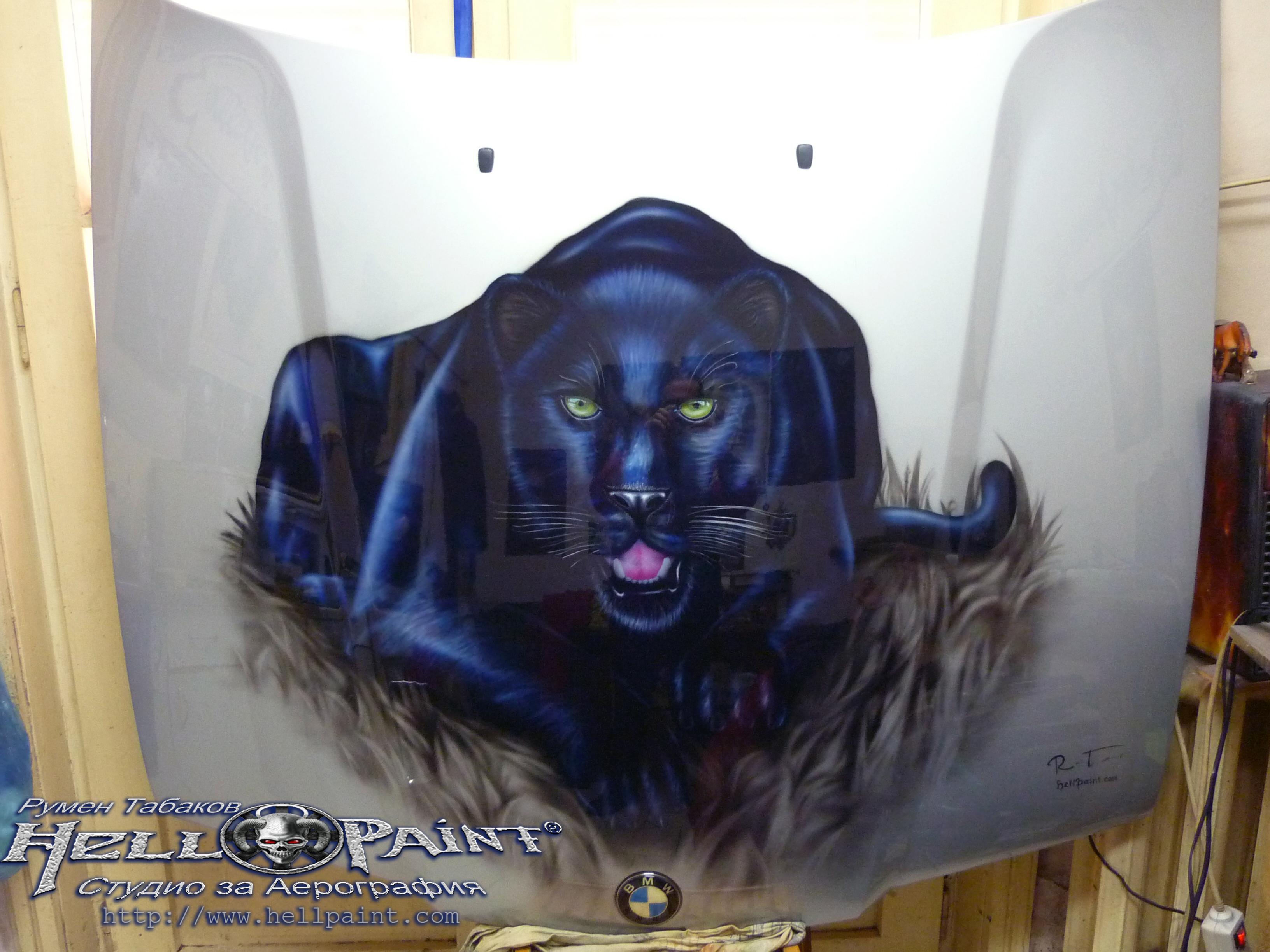 Black panther airbrushing